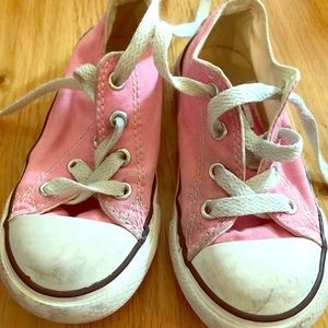 Pink converse gym shoes size 8